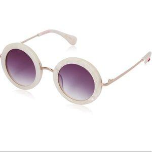 Accessories - Betsey Johnson Ivory Round Sunglasses